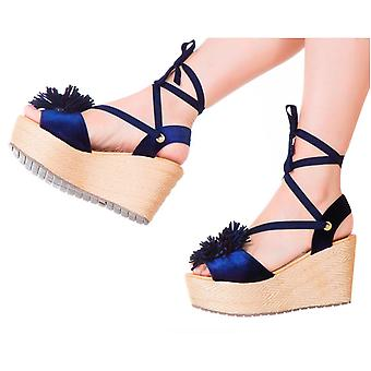 Espadrille Sandals Silvia Cobos Lace Up Blue