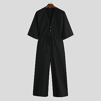 Men Wide Leg Jumpsuit, Solid Punk V Neck, Half Sleeve, Overalls Streetwear Mens