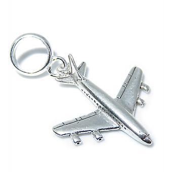 707 Jumbo Jet Aeroplane Sterling Silver Bead Charm .925 X 1 Charms - 8271