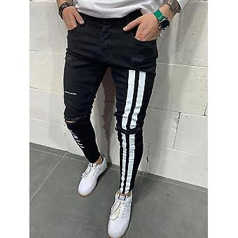 Men's Broken Hole Embroidered Pencil Jeans Casual Thin  Denim Pants