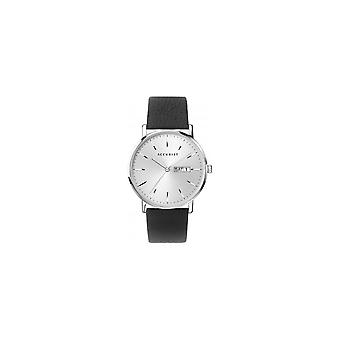 Accurist 7296 Contemporary Silver & Black Leather Men's Watch