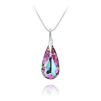 Silver multifaceted crystal vitrail light teardrop necklace