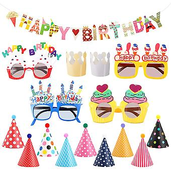 Gerui Party Hats Birthday Banners Birthday Glasses Set with 2 Crown Paper Hats 9 Cute Poms Hats 4