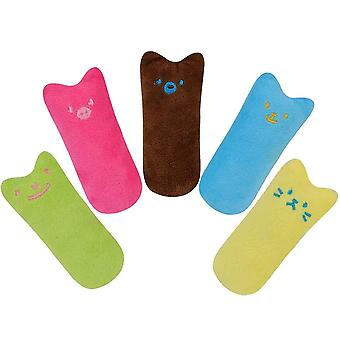 5 Pieces Cuddly Pillow Cute Plush Thumb Shaped Catnip Toy Set