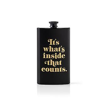 Its Whats Inside That Counts Pocket Flask by Brass MonkeyGalison