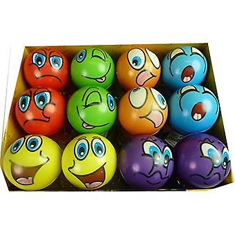 12 festsitzende bunte Grimassenblle, ca. 6 cm Durchmesser, Flummi, Anti Stressball, Wurfball, Knetball,