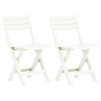 vidaXL Folding garden chairs 2 pcs. plastic white
