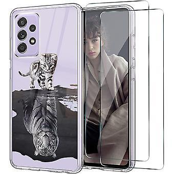 FengChun Hülle für Samsung Galaxy A52 5G mit 2 Stück Panzerglas Silikon Klar Case Slim Thin