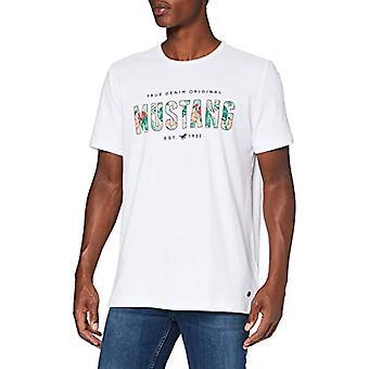 MUSTANG Alex C Print T-Shirt, White (Wei 2045), Medium Men's