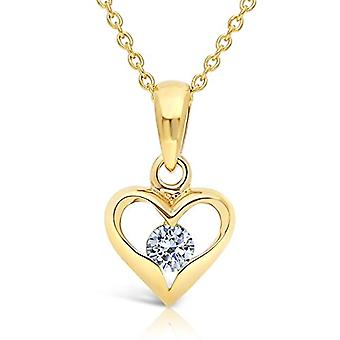Planetys Necklace with heart in yellow 9 carat gold (375/1000) with diamond, length 42-45 cm(3)