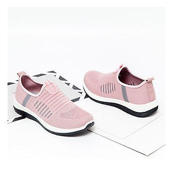 الشتاء عارضة المرأة الوردي شقق زلة شبكة أحذية رياضية