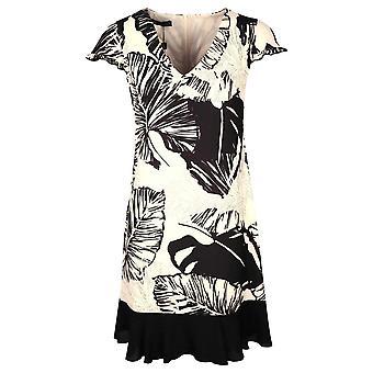 Arggido Cream & Black Tropical Leaf Print Capped Sleeve Above Knee Dress