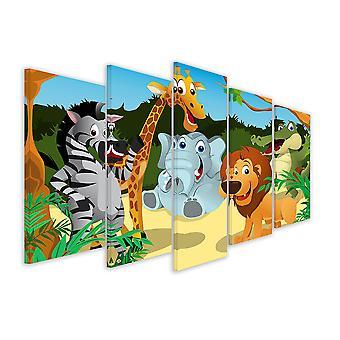 Tableau 5 parties deco animaux joyeux - 150x80 cm