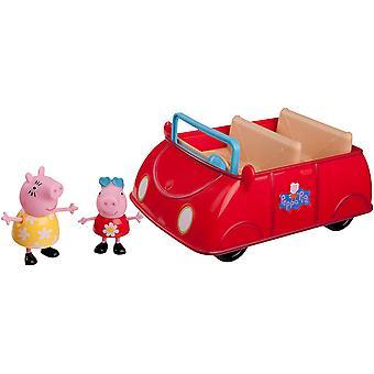 Jazwares 92605 - Peppa Wutz Peppa es rotes Auto, Cabrio mit Melodie und Sound, Spielzeugauto mit
