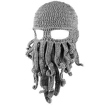 Svetlo šedá chobotnica klobúk funny maskované ručne vyrábané háčkované vlnené teplý klobúk az9436