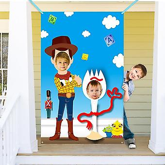 Toy Theme Inspired Story Party Supplies Toy 4th Photo Door Banner Fabric Face