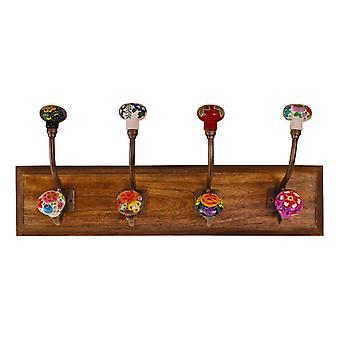 Crochets en céramique florale mexicaine sur base en bois
