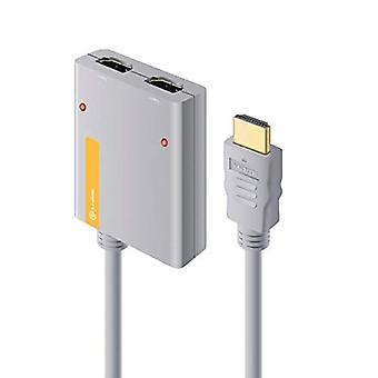 ALOGIC 2-portars bärbar HDMI 2.0 4K Splitter med inbyggd HDMI-kabel (50CM)