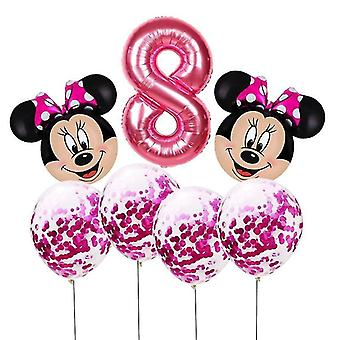new pink8 mickey mouse head shaped number foil balloons for birthday party sm17134