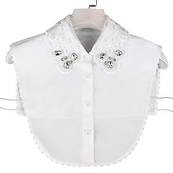 אנטי קמט חצי חולצות רקמה צווארון מזויף יהלום משובץ חולצה להסרה חלולה