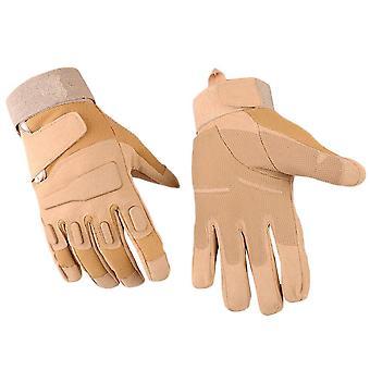 Khaki xl full finger plus velvet non-slip wear-resistant gloves homi2480