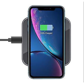 Caricabatterie wireless quadrato specchio di vetro temperato, ricarica rapida da 15W per Apple Samsung (Grigio)