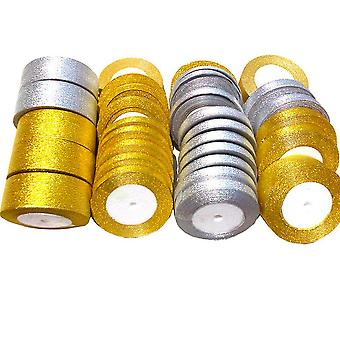 4pcs Satin Ribbon Wedding Decoration Gift Christmas Ribbons Gold Silver
