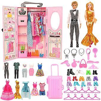 Garde-robe et 42 accessoires de poupée robe chaussures cintre sacs poupées meubles pour barbie ken jeu