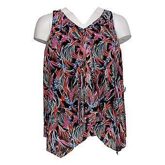 Fit 4 U Plus Swimsuit V-Neck Handkerchief Hem Tankini Top Pink A394007