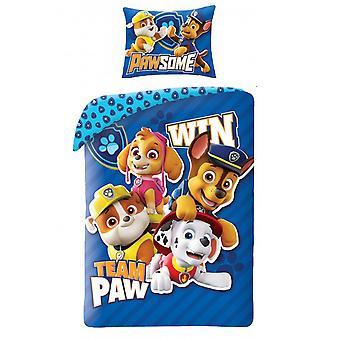 Paw Patrol Team Paw 100% Baumwolle Einzelbettdecke Set - Europäische Größe