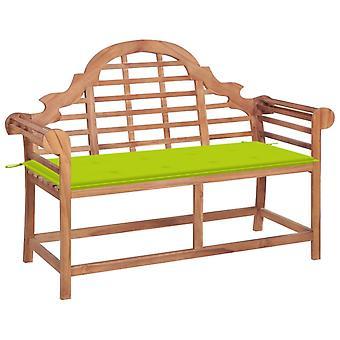 vidaXL garden bench with light green pad 120 cm solid wood teak