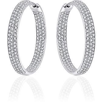 Gisser Jewels - Örhängen - Örhängen med gångjärn - Lätt rullad med Zirconia - 4mm Bred - 30mmØ - Roterat Silver 925