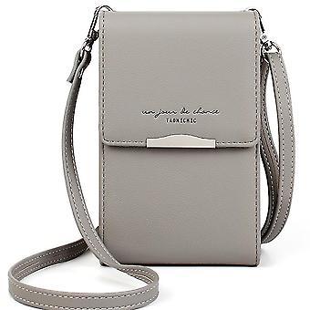 Mobilní peněženka s jedním ramenem dámská módní mini taška (šedá)