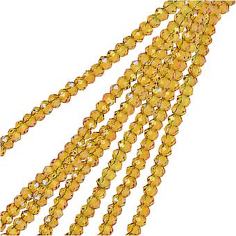 Crystal Beads, Faceted Rondelle 1.5x2.5mm, 2 Strands, Transparent Light Amber w/Purple Luster