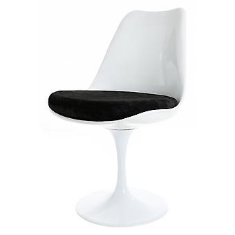 Fusion Living Glanzende Witte En Zwarte Luxe Draaibare Bijzetstoel