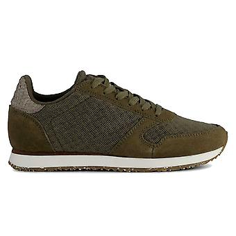 Woden Olive Green Ydun Suede Mesh Lace Up Trainer