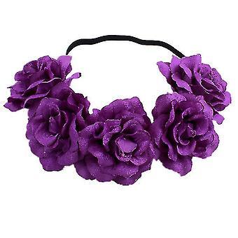 Rose Flower Crown Wedding Festival Opaska na głowę Hair Garland Wedding Headpiece (Fioletowy)