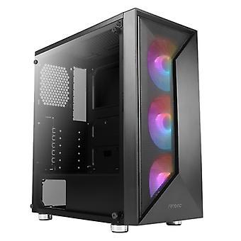 Antec NX320 Mid Tower 1 x USB 3.0 / 2 x USB 2.0 Härdat glas sidofönsterpanel svart fodral med adresserbara RGB LED-fläktar