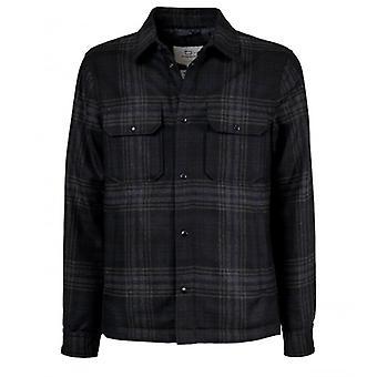 Woolrich Alaskan Wool Check Grey Blue Overshirt