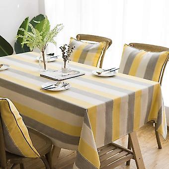 Rechteckige Tischdecke, Anti-Fouling kann dreifarbig gestreifte Tischdecke sein, Küchentisch Dekoration Baumwolle und Leinen Tischdecke (140 * 140cm) Gelb