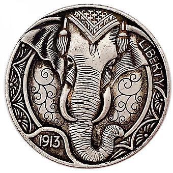Venalisa 1913 American Animal Coin Elephant Collection de pièces commémoratives en relief Pièce tridimensionnelle en cuivre et en argent