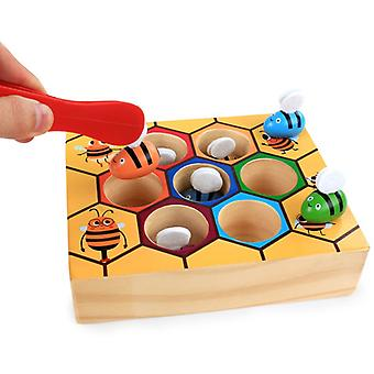 Toddler Fine Motor Skill Toy Clamp Bee To Hive Matching Game Montessori Wooden Color Sorting Puzzle Early Learning