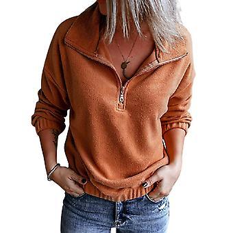 Pullover Einfarbig Bluse Reißverschluss Weiblich Elastisch Casual Langarm Orange
