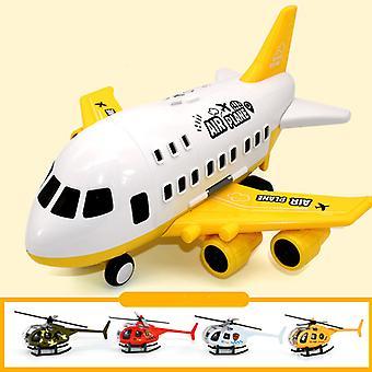Grand modèle de jouet d'avion pour enfants jaune avec hélicoptère en alliage 4pcs