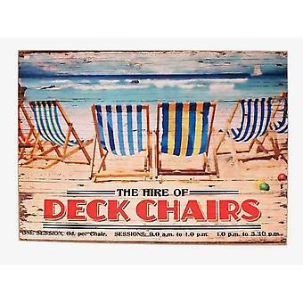 Wynajem leżaków na plaży Vintage 30x40cm drewniany znak