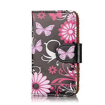 Design-Buch-Geldbörse-PU-Leder-Etui für Nokia Lumia 1320 - Gerbera