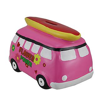 Bright Pink Flower Power Beach Van Coin Bank