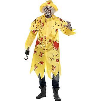 Traje de jaqueta de chuva de pesca de zumbi horror de Halloween