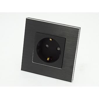 I LumoS Luxury Black Brushed Aluminium Frame Schuko EU 16A German Single Socket