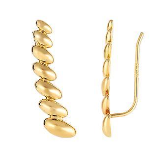 14K Gelb Gold abgestufte Oval Serie Kletterer Ohrringe